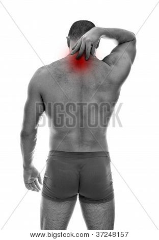 Rear View Of Muscular Man With Neck Pain. Isolated On White. Black And White