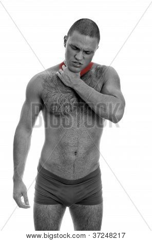 Muscular Man Suffering From Pain In Throat. Isolated On White. Black And White