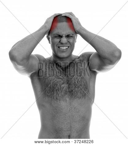 Muscular Man Suffering From Headache. Isolated On White. Black And White