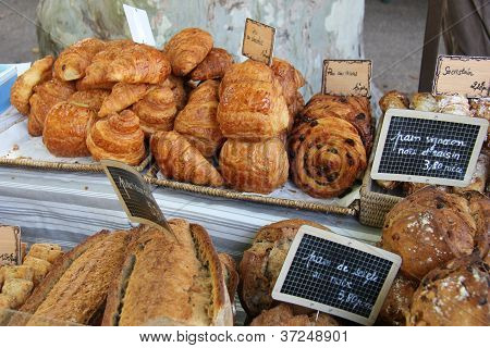 Fresh Croissants And Chocolate Breads