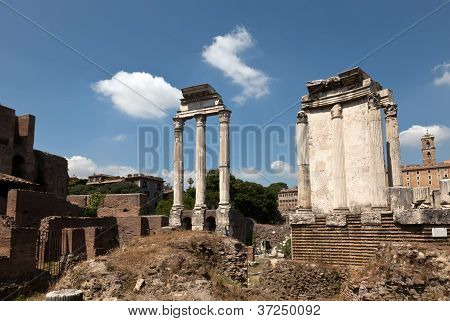 Temple Of Castor And Pollux At The Roman Forum.