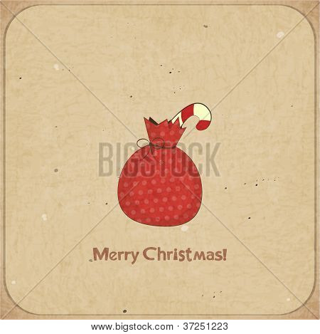 Christmas Retro Postcard With Gift Bag