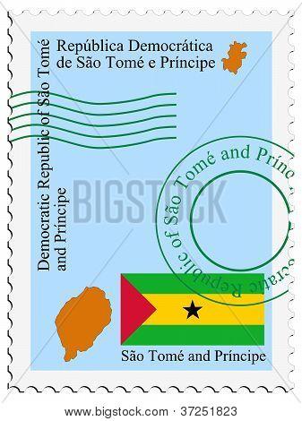 stamp with map and flag of Sao Tome and Principe