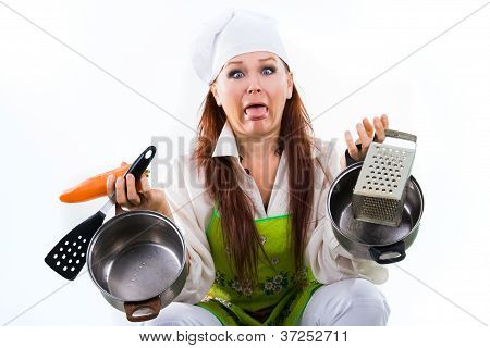 the woman tired of work in kitchen and cooking