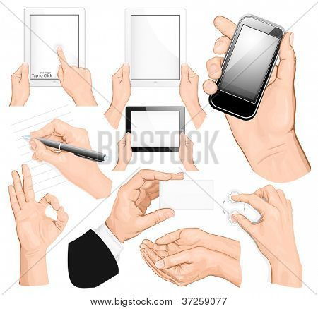 Big set of hands. vector illustration