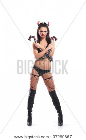 Sexy devil isolated on white