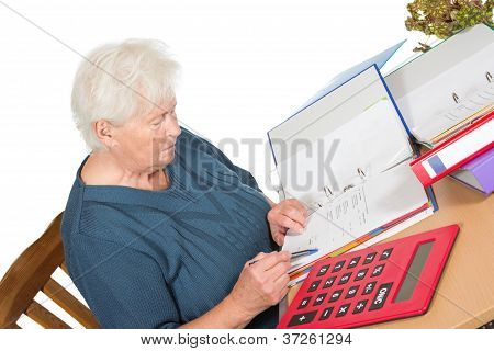 Senior Woman Doing Her Accounts