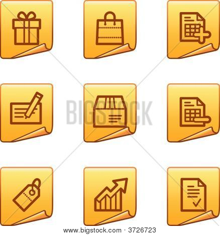 Shopping Icons Gold Sticker Series