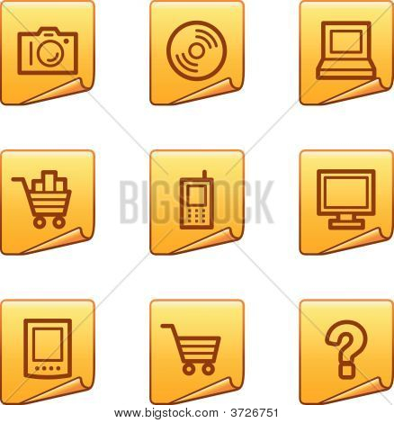 Electronics Icons Gold Sticker Series