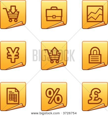 E-Business Icons Gold Sticker Series