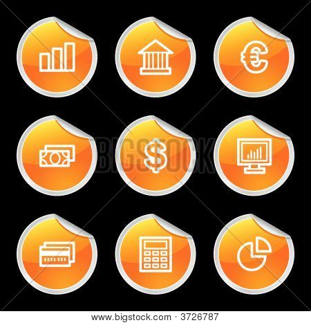 Finance Icons Orange Circle Sticker Series
