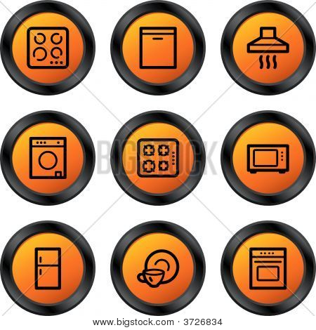 Home Appliances Icons Orange Circle Series