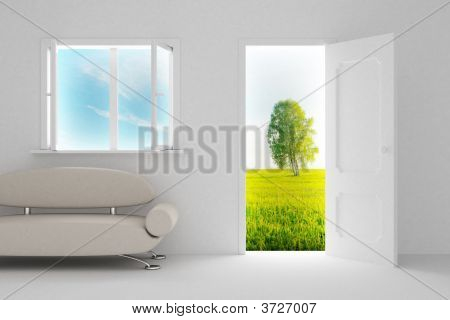 Landscape Behind The Open Door And Window. 3D Image