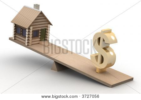 House And Dollar On Scales. 3D Image.