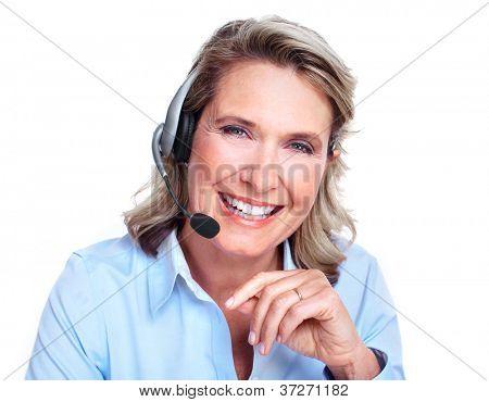 Cliente serviço representante mulher trabalhar com fones de ouvido.