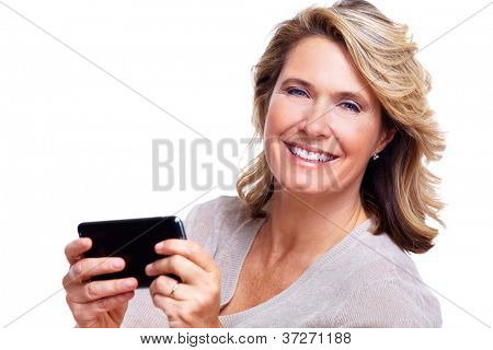 Happy senior woman with a smartphone. Isolated on white background.