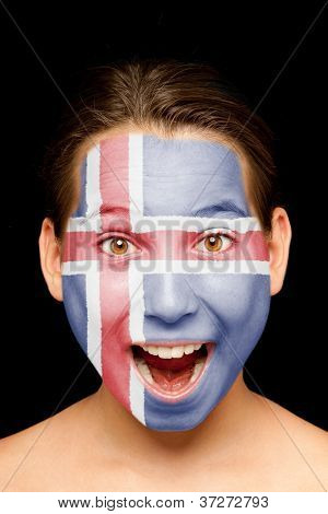 portrait of girl with icelandic flag painted on her face