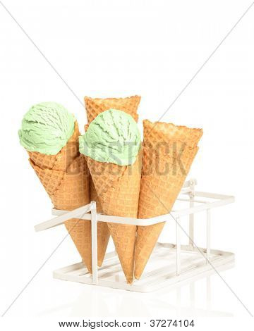 Minty ice creams with waffle cones on a white background