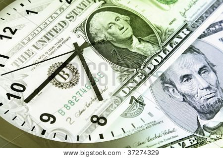 Clock and banknotes. Time is money concept