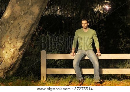 Young handsome man sitting on a rustic fence