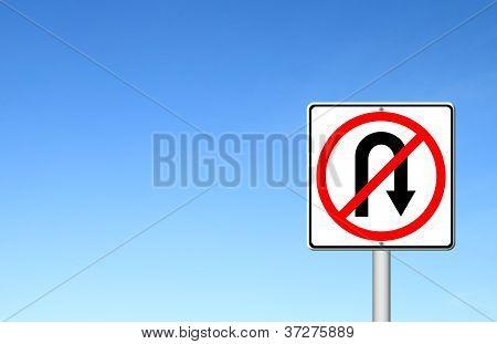 No Return Back Road Sign Over Blue Sky