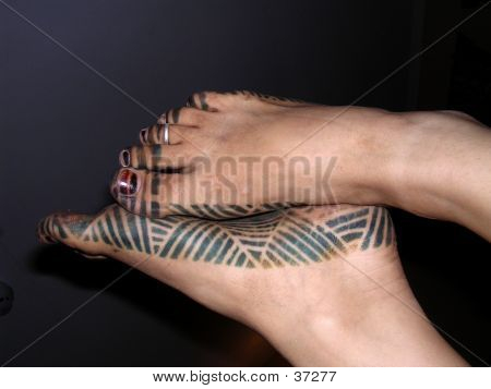 Gambian henna foot tattoo
