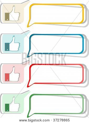 Paper Thumb Up Like Hand Symbol. Vector Set Of Design Elements