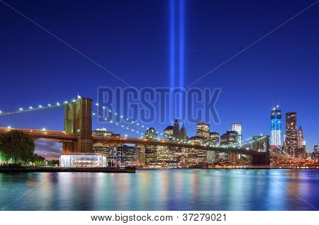 NEW YORK CITY - SEPTEMBER 11: Tribute in Light September 11, 2012 in New York, NY. The installation of 88 searchlights has been displayed annually in remembrance of the September 11, 2001 attacks.