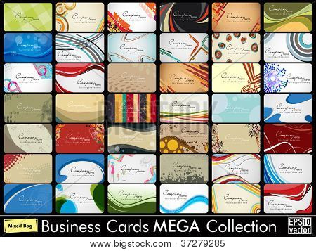 Mega collection of 42 abstract professional and designer business cards or visiting cards on diffrent topic, arrange in horizontle. EPS 10.