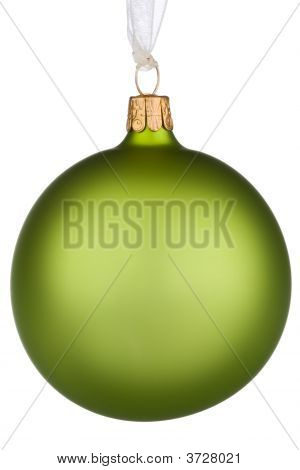 Vibrant Green Christmas Bauble On Isolated White