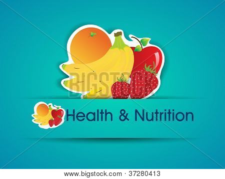 Health and Nutrition sticker with organic food. EPS 10.