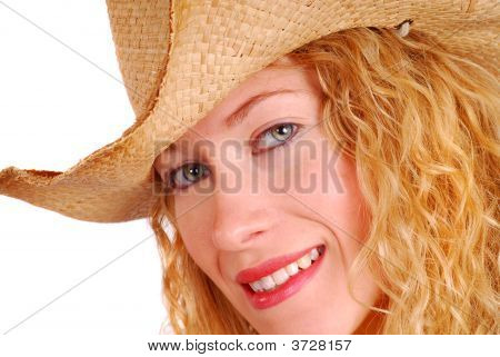 Young Woman Wearing Cowboy Hat