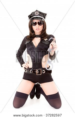 cute police woman posing on a white background