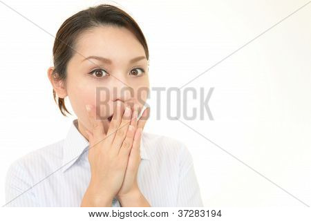 Surprised female office worker