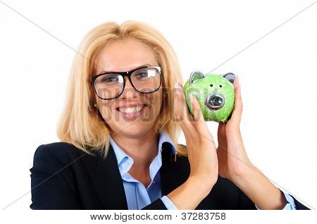 Isolated young business woman with piggybank