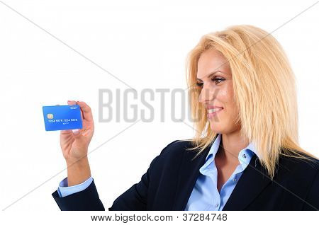 Isolated young business woman presenting card