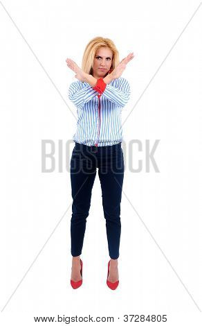 Isolated young business woman stop sign