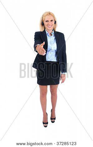 Isolated young business woman handshake