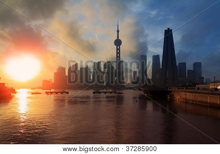 Shanghai Skyline Rising Sun Viewed From The Bund