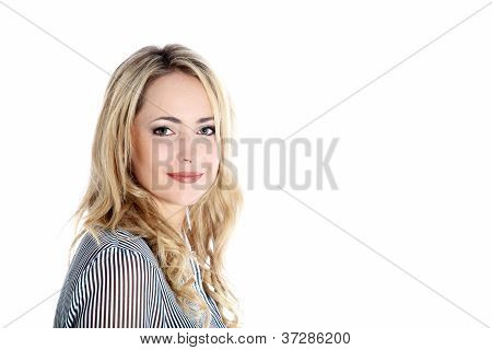Beautiful Blonde Woman With Copyspace