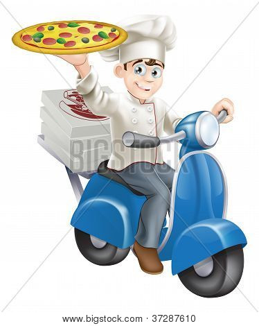 Pizza Chef Moped Delivery