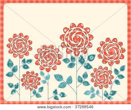 Cartão de rosas de retalhos.