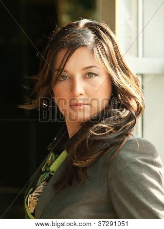 Busineeslady In Grey Pantsuit Portrait