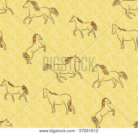 Seamless background with stylized horses