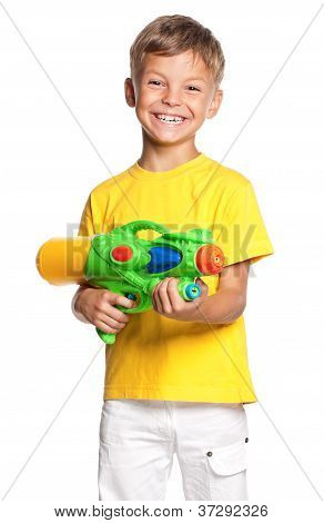 Boy with water gun