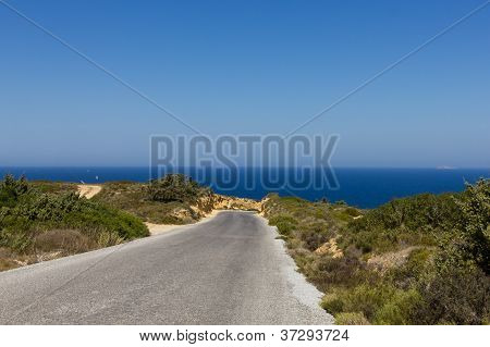 Windy Road In The Sea Along The Coast