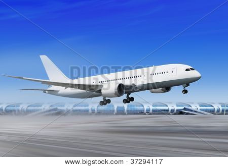 white passenger plane is landing away from airport