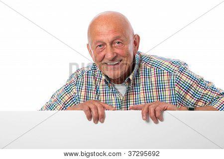 Senior Man With A Blank Board