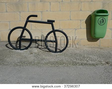 iron bike and bin