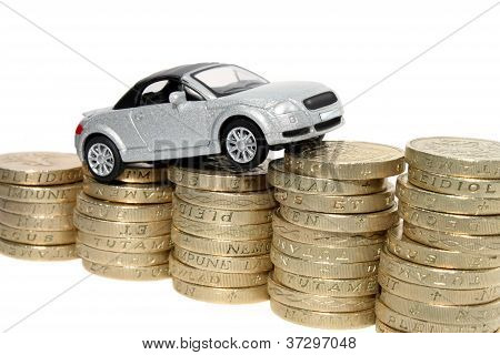 Car Driving Up Coins